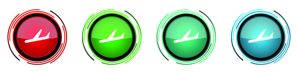 Fotomurales - Arrivals round glossy vector icons, flight, airplane set of buttons for webdesign, internet and mobile phone applications in four colors options isolated on white background