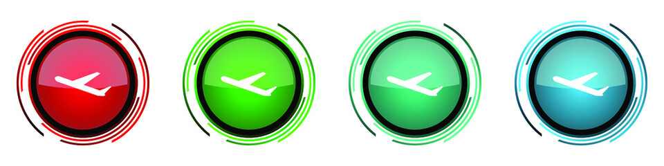 Fotomurales - Deparures round glossy vector icons, flight, airplane set of buttons for webdesign, internet and mobile phone applications in four colors options isolated on white background
