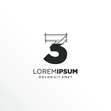 Number 3 Logo Design with Architecture Element