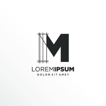 Letter M Logo Design with Architecture Element