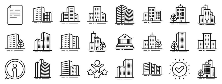 Bank, Hotel, Courthouse. Buildings line icons. City, Real estate, Architecture buildings icons. Hospital, town house, museum. Urban architecture, city skyscraper, downtown. Vector