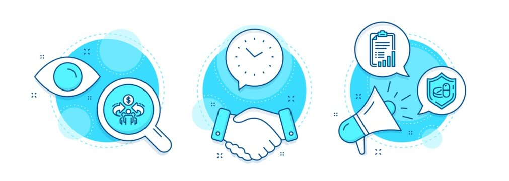 Checklist, Sharing economy and Time line icons set. Handshake deal, research and promotion complex icons. Medical tablet sign. Graph report, Share, Clock. Medicine pill. Science set. Vector
