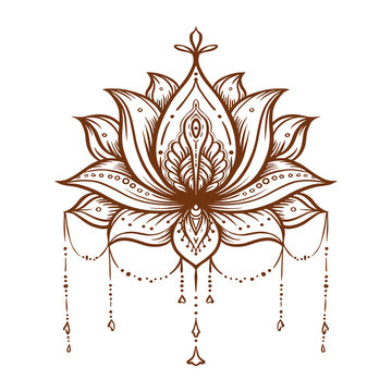 Ornate Lotus flower. Ayurveda symbol of harmony and balance and universe. Tattoo design, yoga logo. Boho print, poster, t-shirt textile. Isolated outline vector illustration.