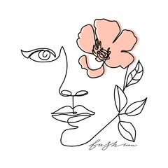Trendy abstract one line woman face with leaves, flower and lettering. Typography slogan design