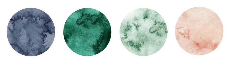Abstract watercolor green, pink and grey circle shapes on white background. Color splashing hand drawn vector
