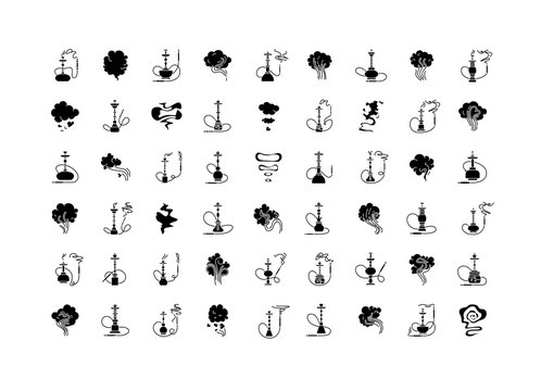 Hookah bar black glyph icons set on white space. Sheesha house. Nargile lounge. Odor from pipe. Scent of vaporizing. Smoking area. Fragrance emblem. Silhouette symbols. Vector isolated illustration