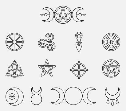 Collection of magical wiccan and pagan symbols: pentagram, triple moon, horned god, triskelion, solar cross, spiral, wheel of the year. Monochrome vector illustration, isolated on white background