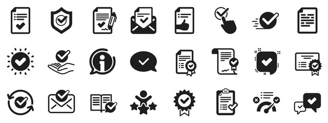 Set of Check List, Certificate and Award medal. Approve icons. Certified document, Accepted approve and Confirm mail icons. Guarantee certificate, Check mark and agreement signs. Vector