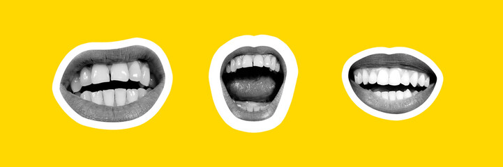 Collage in magazine style on bright yellow background. Female lips, smiling, screaming on black and white colored with contour. Modern design, creative, style and emotions concept. Flyer for ad.