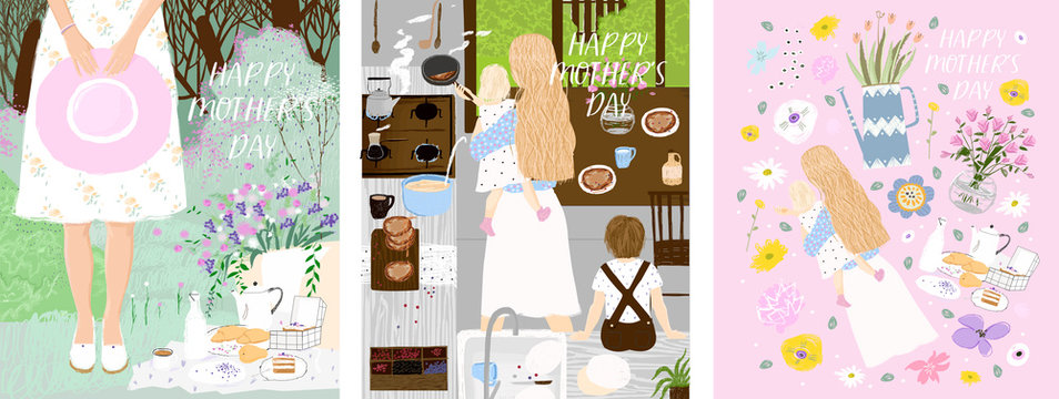 Set of vector posters for Mother`s Day with mom, flower, children and breakfast