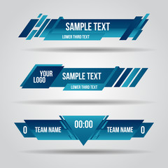 Lower third blue design template modern contemporary. Set of banners bar screen broadcast bar name. Collection of lower third for video editing on transparent background.