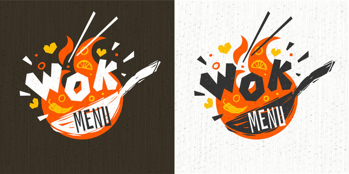 Wok asian food logo, Wok pan, lettering, pepper, vegetables, Cook wok dish fire background logotype design. Hand drawn vector illustration.