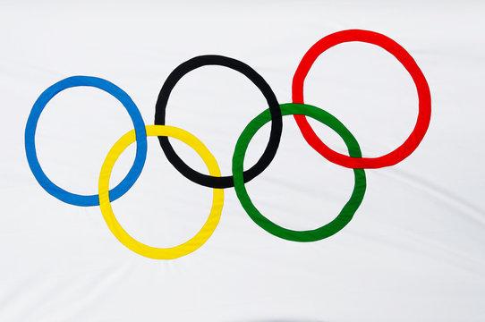 Closeup shot of Olympic flag