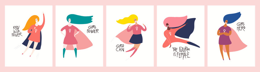 Set of womens day card, banner designs with beautiful women superheroes and quotes. Hand drawn vector illustration. Flat style. Concept, element for feminism, girl power. Female cartoon characters.