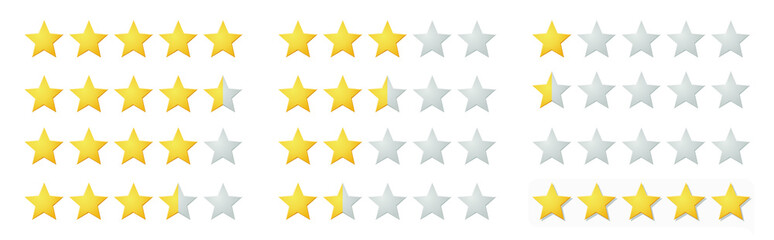Vector full 5 star rating icon set with lighted yellow golden and grey stars. Isolated flat illustration for reviews, feedbacks on white background. Template for products and services.