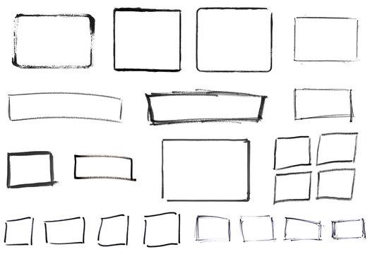 Sammlung von handgemalten schwarzen Rahmen