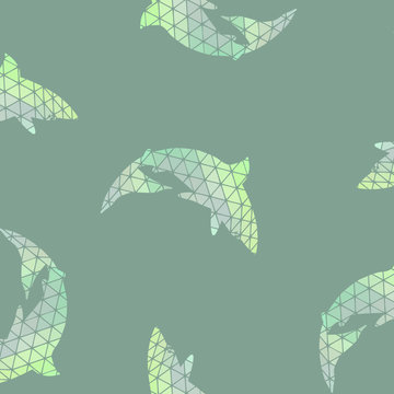Dolphin or shark seamless pattern