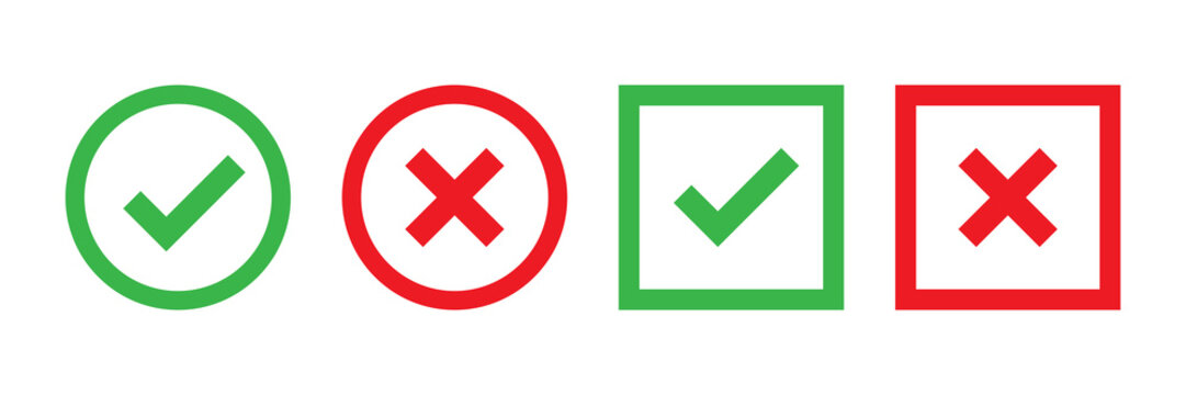 Checkmark cross on white background. Isolated vector sign symbol. Checkmark icon set. Checkmark right symbol tick sign. Flat vector icon. Test question.