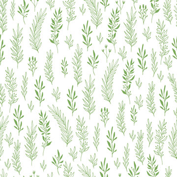 Green botanical seamless pattern with herbs, plants, leaves, branches. Scandinavian hand drawn design. Vector illustration.