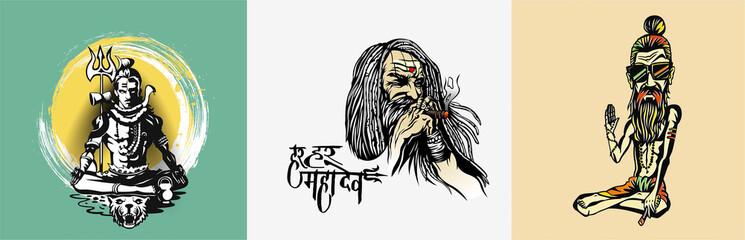 Set of t-shirt Lord shiva design poster - Sketch Vector illustration.