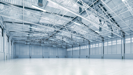 Steel construction factory building indoor angle view as industrial 3D background copy space illustration. Fotomurales