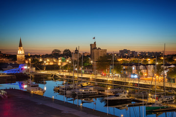 Aerial view of the harbor of La Rochelle at night, France