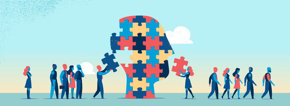 Persone che completano puzzle per fare la testa umana - illustrazione vettoriale