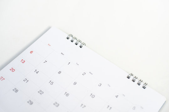 Calendar page on white background.