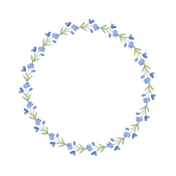 Wreath of watercolor blue flowers on a white background. Use for menus, weddings, invitations, and birthdays.