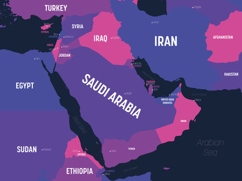 Middle East map. High detailed political map of Middle East and Arabian Peninsula region with country, capital, ocean and sea names labeling