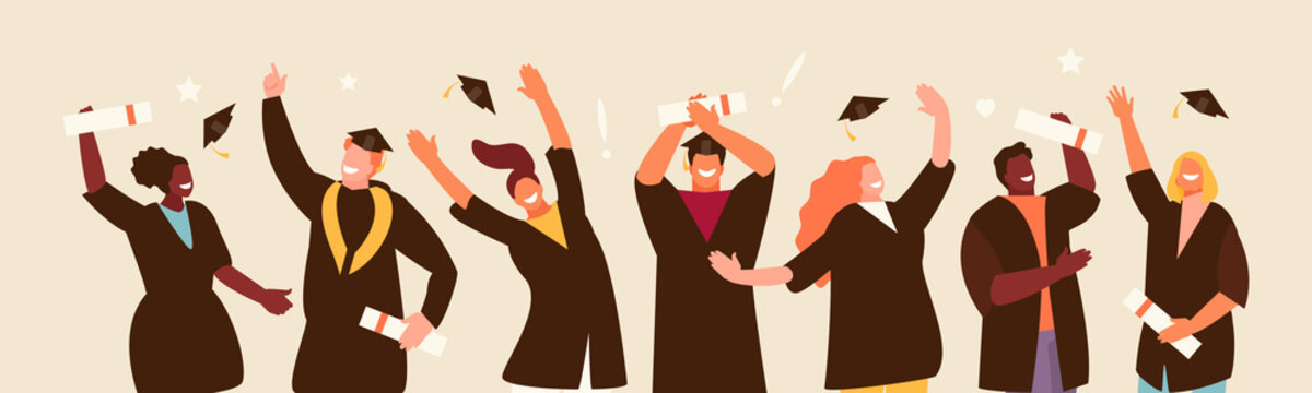 Happy jumping graduate students group. Education vector illustration
