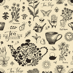 Vector seamless pattern with medicinal herbs. Abstract background on the theme of tea with black pencil drawings in retro style. Chinese character tea. Suitable for Wallpaper, wrapping paper, fabric.