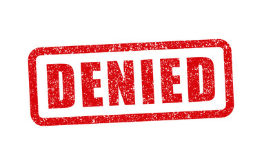 Denied grunge rubber ink stamp icon shape. Prohibit logo sign symbol. Red retro style tag template graphic. Isolated on white background. Vector illustration image.