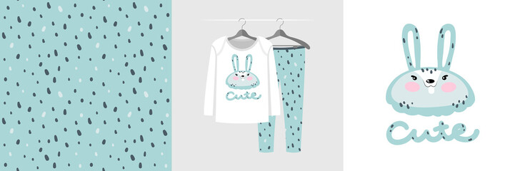 Wall Mural - Seamless pattern and illustration for kid with mint rabbit.