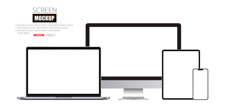 Mockup set of device. Realistic set of Monitor, laptop, tablet, smartphone. Vector