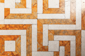Wall Mural - Vintage yellow white stone mosaic floor tiling