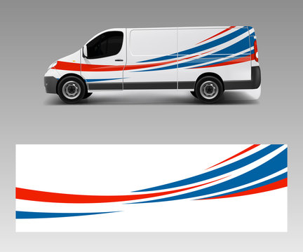 Vehicle decal wrap design cargo van vector. Graphic abstract wave background designs for advertisement company branding