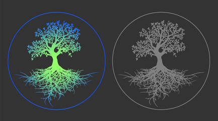 Bright neon tree of life vector illustration on gray background. Flat design vector gray pictogram - a tree of life close-up