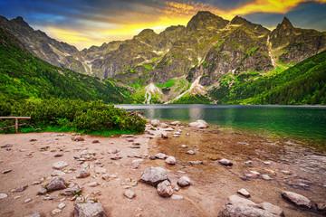 Eye of the Sea lake in Tatra mountains at sunset, Poland Wall mural