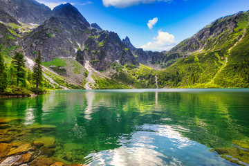 Foto op Canvas Bergen Beautiful Eye of the Sea lake in Tatra mountains, Poland