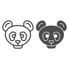Panda head line and solid icon. Simple silhouette, bamboo asian bear. Animals vector design concept, outline style pictogram on white background, use for web and app. Eps 10.