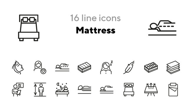 Mattress line icon set. Orthopedic pillow, sleeping, insomnia. Comfort concept. Can be used for topics like bedroom, night, rest