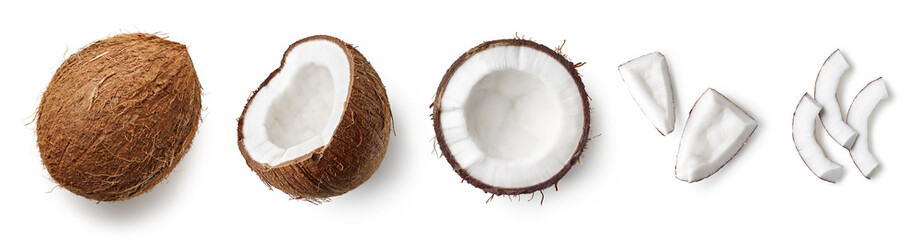 Foto op Plexiglas Kruidenierswinkel Set of fresh whole and half coconut and slices
