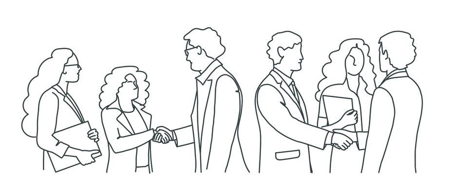 Line drawing illustration of business meeting. People handshake.