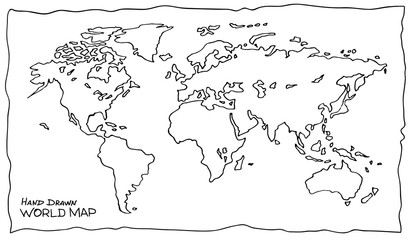 Hand drawn map of the world. Not exactly precision outline drawing of global map in black and white colors. Sketchy Earth with continents and oceans. Easy editable vector illustration in EPS8. Fotobehang