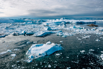 Ilulissat Icefjord in Greenland from an aerial perspective
