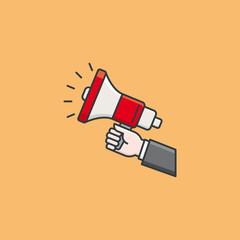 Hand holding megaphone vector illustration for Speech Day