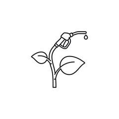 Bio fuel concept. Plant with fuel nozzle vector line icon.