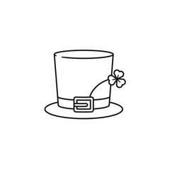 Saint Patrick Day hat with shamrock vector icon