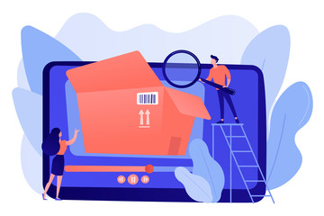Bloggers with magnifier looking inside the box with new purchase video. Unboxing video, product review video, shopping device content concept. Pinkish coral bluevector isolated illustration